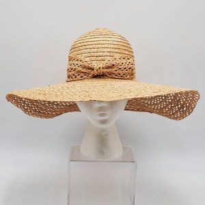 Italian Woven Straw/Raffia Floppy Hat - Bow Accent